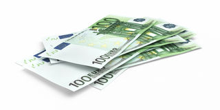 3d render Hundred euro banknotes. Close-up ( on white and clipping path royalty free illustration