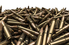 Rifle bullets pile. 3D render of hundreds of rifle bullets Royalty Free Stock Photo