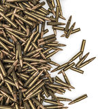 Rifle bullets spill. 3D render of hundreds of rifle bullets Royalty Free Stock Photo
