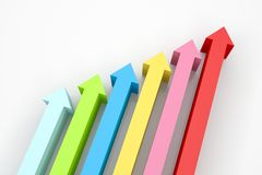 Arrows Upward. 3d render illustration of arrows going up Royalty Free Stock Image