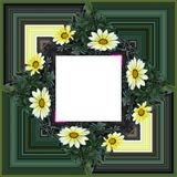 3D render flower background frame. 3D render illustration of  background frame with embossed real native colorful flowers Royalty Free Stock Photography