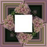 3D render flower background frame. 3D render illustration of  background frame with embossed real native colorful flowers Stock Photography