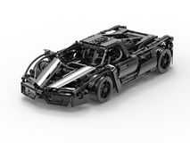 Black car toy concept. 3D render illustration of a black toy car. The object is  on a white background with shadows Royalty Free Stock Image