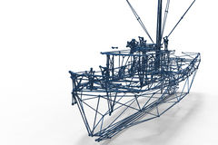 3d render illustration of boat structure. Boat polygonal structure and wireframe lattice mesh. 3d render illustration vector illustration