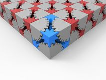 Cube puzzle gear complexity concept. 3D render illustration of the complexity concept. The composition makes use of multiple puzzle gear cubes arranged in a vector illustration