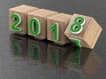Wooden 2017 to 2018 transition concept. 3D render illustration of the concept of changing the year from 2017 to 2018. The composition is isolated on a carbon Stock Photos