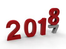 Years - 8 replacing 7. 3D render illustration of the concept of the new 2018 year, replacing 2017. The composition is isolated on a white background with soft vector illustration