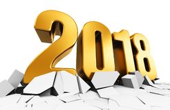 New Year 2018 holiday concept. 3D render illustration of creative abstract New Year 2018 beginning celebration concept on cracked surface isolated on white Stock Photos