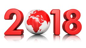 New Year 2018 holiday concept. 3D render illustration of  creative abstract New Year 2018 beginning celebration concept with red glossy Earth globe isolated on Royalty Free Stock Photography