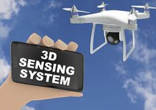 3D render illustration of drone 3D sensing system concept. 3D render illustration of drone  3D sensing system concept  concept - hand holding smartphone with Royalty Free Stock Photography