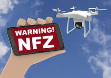 3D render illustration of drone no fly zone warning concept Royalty Free Stock Image
