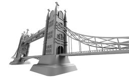 3D render of an English bridge on a white background Royalty Free Stock Photos