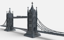 3D render of an English bridge on a white background Royalty Free Stock Image
