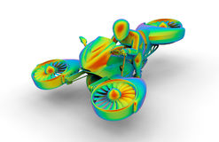 3D Flying hover bike illustration. 3D render illustration of a flying hover bike. The bike is isolated on a white background with shadows Stock Image