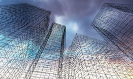 3d render illustration, Ghost town concept. Abstract digital graphic background. Modern skyscrapers perspective. Black wire frame lines over colorful dramatic Stock Image