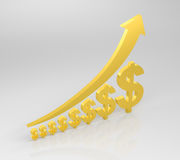 Increasing Success. 3d render illustration of gold dollar symbols of increasing size, with gold arrow moving upward Royalty Free Stock Photography