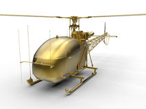 3D render illustration of a golden helicopter Royalty Free Stock Photography