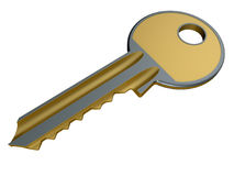 3D golden and metallic key. 3D render illustration of a golden metallic key isolated on a white background with shadows Royalty Free Stock Image