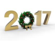 2017 golden Christmas ornament illustration. 3D render illustration of the golden 2017 year with a Christmas ornament positioned instead of the 0 number. The Vector Illustration