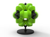Gears award trophy. 3D render illustration of a green gears award trophy. The award is isolated on a white background with shadows royalty free illustration