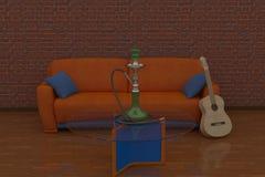 3D Render illustration  interior hookah Royalty Free Stock Photo