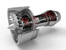 Jet engine section cut. 3D render illustration of a jet engine section cut. The jet engine is isolated on a white background with shadows Royalty Free Stock Photo