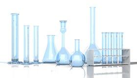 3D render illustration. Laboratory blue glassware Stock Image