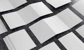 3d render illustration of a leaflet mockup on black marble background. Perspective view vector illustration