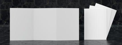 3d render illustration of a leaflet mockup on black marble background. Front view vector illustration