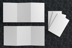 3d render illustration of a leaflet mockup on black marble background. Top view stock illustration