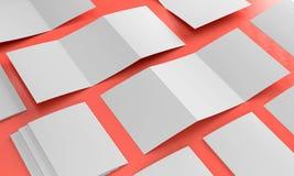 3d render illustration of a leaflet mockup on color background. Perspective view stock illustration
