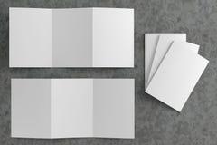 3d render illustration of a leaflet mockup on concrete background. Top view royalty free illustration