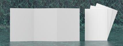 3d render illustration of a leaflet mockup on green marble background. Front view vector illustration