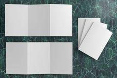 3d render illustration of a leaflet mockup on green marble background. Top view vector illustration