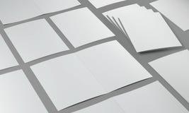 3d render illustration of a leaflet mockup on grey background. Perspective view vector illustration