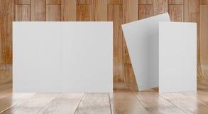 3d render illustration of a leaflet mockup on wood background. Front view royalty free illustration