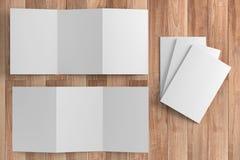 3d render illustration of a leaflet mockup on wood background. Top view royalty free illustration