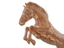 Copper Mesh horse 3D render. 3D render illustration of a metallic horse mesh. The object is isolated on a white background with no shadows Stock Images