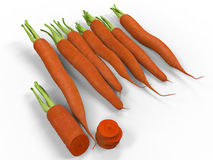 3D render illustration of multiple carrots. Isolated on a white background with shadows Stock Images