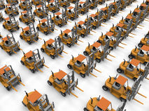 Forklift trucks fleet. 3D render illustration of multiple forklift trucks arranged in a rectangular pattern Stock Photo