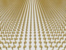 Multiple golden awards. 3D render illustration of multiple golden awards. The composition is isolated on a white background with shadows Royalty Free Stock Photos