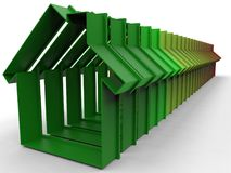 House energy efficiency - green to red. 3D render illustration of multiple house cutouts arranged in a line. The houses are colored from green to red. The stock illustration