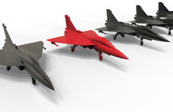 Target in row - jet fighter concept. 3D render illustration of multiple jet fighters aligned in a line. One fighter is colored in red indicating the targeted one Royalty Free Stock Image