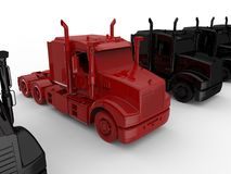Red truck waiting in line Stock Images