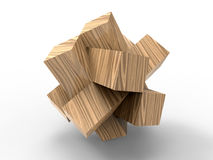 Wooden blocks abstract jigsaw Royalty Free Stock Image