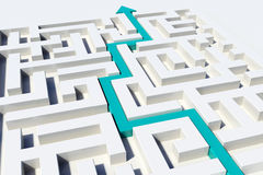 The way through the labyrinth. 3D render illustration of a pathway showing the way through a labyrinth Stock Images