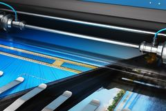 Printing photo banner on large format color plotter royalty free illustration