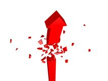 One Broken Arrow. 3d render illustration of red arrow breaks apart Royalty Free Stock Images