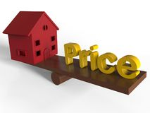 House and price on a swing concept. 3D render illustration of a red house and the text price positioned on a wooden swing. The composition is isolated on a white Stock Photography