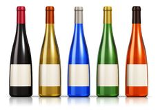 Set of color glass wine bottles Stock Photography